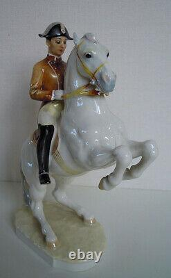 12 HUTSCHENREUTHER-ROSENTHAL Dressage rider Lipizzaner Horse Porcelain figurine