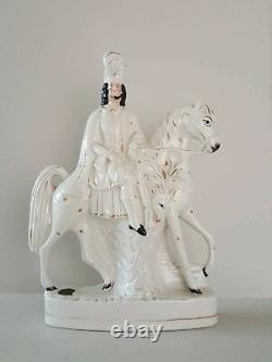 19th Century Old Staffordshire Porcelain Figurine Riding Horse