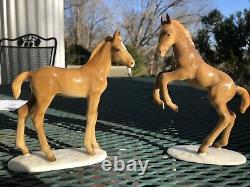 (2) Hutschenreuther Kunstabteilung Leaping Foal Colt Horse Figure Germany AS IS