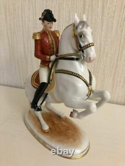 Antique 1920s original Porcelain figurine Horse Levade with Rider Austria-Vienna