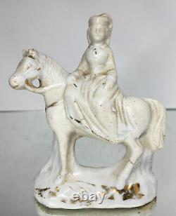 Antique 19th C. Staffordshire Pottery Porcelain Horse Equestirian Figure Female