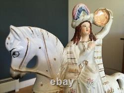 Antique 19th C Victorian Staffordshire Pottery Flatback Equestrian Figure Horse