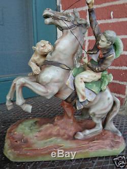 Antique Amphora Turn Teplitz Cowboy Horse Mt Lion Porcelain Statue Figurine Lg