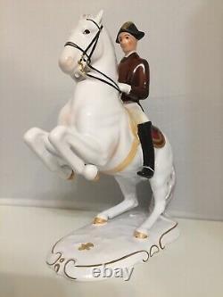 Antique Austrian Keramos Wien Lipizzaner Porcelain Figurine Of Horse Rider 10