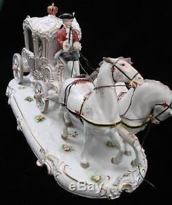 Antique Dresden Germany Porcelain Cinderella Horses Carriage Figural Statue
