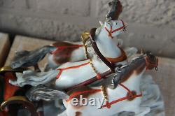 Antique German Scheibe alsbach porcelain Statue group sled horses figural 1920