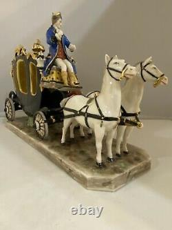 Antique Large German Dresden porcelain Horse And Carriage