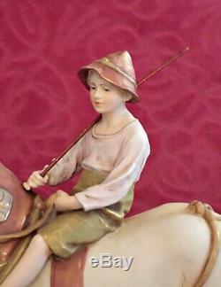 Antique Large Royal Dux Porcelain Figurine Shire Horse & Rider