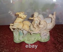 Antique Porcelain Bisque Cherub Horse Carriage Figurine Planter Candy Dish Vase