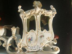 Antique Porcelain Carriage Coach Horse Lady Dresden Figurine