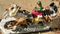 Antique Porcelain Figurine Horse Drawn Sleigh Large Grouping Fantastic