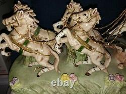Antique Porcelain Horses Drawn Carriage Cinderella Fine Capodimonte Figure