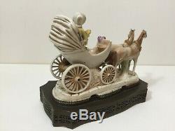 Antique Victorian German Porcelain Horse Drawn Carriage Coach Wagon Figurine