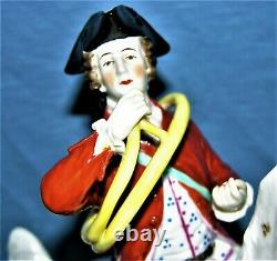 Antique Volkstedt Porcelain Figure of a Soldier on Horse with French Horn