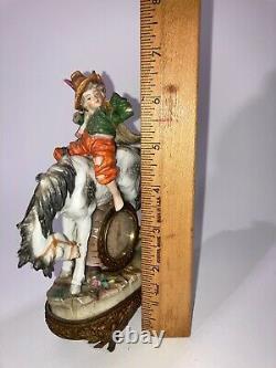 Antique Vtg Sitzendorf Figurine Porcelain Clock Boy on Horse See Pics Make Offer