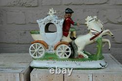 Antique german porcelain coach horses carriage statue marked