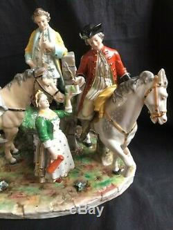 Antique porcelain large dresden porcelain group with horse riders. Marked