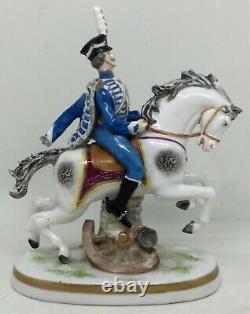 Blue hussar on horse Porcelain figurine Carl Thieme & Edme Samson marks AH835