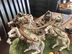 Capodimonte Armani FINE PORCELAIN HORSE DRAWN ROYAL CARRIAGE GRAND MANTLEPIECE
