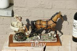 Capodimonte BALCARI marked porcelain romantic coach carriage horse couple