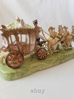 Capodimonte Horse Drawn Cinderella Princess Carriage Painted Porcelain ITALY