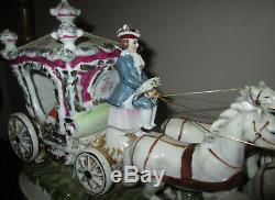 Capodimonte Italian Porcelain Carriage Princess 4 Horse Signed Pacelli