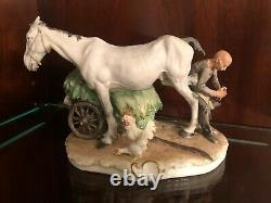 Capodimonte Porcelain Figurine Man Shoeing Horse Signed By Giuseppe Cappe C. 1961