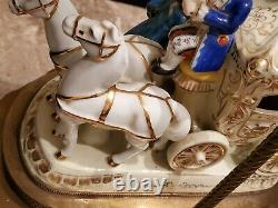 Capodimonte Porcelain Horse & Carriage Figurine Lamps Brass BaseRARE