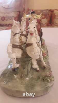 Capodimonte Porcelain Princess Horse-Drawn Carriage Coachman and4Horsesfreeship