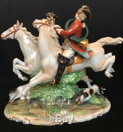 Capodimonte Porcelain Statue of Fox Hunt Riders on Horses with Hound Dogs
