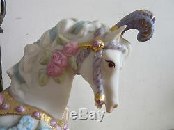Cybis hand painted porcelain carousel horse on stand #66