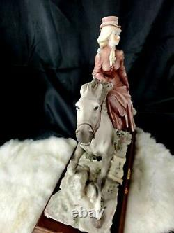 Figurine Woman on horse Vtg A Belcari Collectible Capodimonte Porcelain 14x14