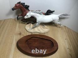 Franklin Mint Racing The Wind Porcelain Horses Figurine on Wood Base 10 H New