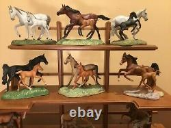 Franklin Mint World Of The Horse Sculpture Collection With Display Shelf