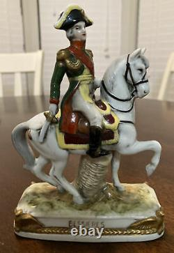 German Porcelain Military Figurine Mounted on Horse Bessieres Scheibe Alsbach