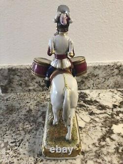 German Porcelain Military Horse Napoleon Garde Imperiale Drum Scheibe Alsbach