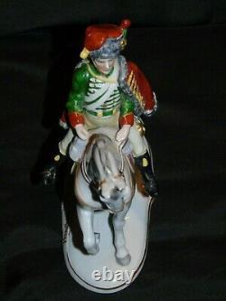German Voight Sitzendorf Chasseur A Cheval 1806 (Soldier-Horse) Statue Porcelain