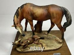Giuseppe Armani Mare and Foal 169 Retired Horse Statue Figurine Artist Signed