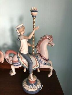 Gorgeous LLADRO PORCELAIN Statues Figurines 2pcs BOY GIRL CAROUSEL Horses