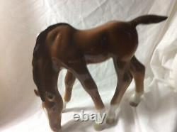 Grazing Brown Foal Horse Figurine by Russian Imperial Lomonosov Porcelain/signed