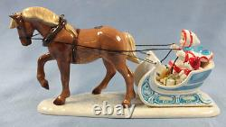 HAGEN RENAKER HORSE AND SLEIGH porcelain figurine limited edition