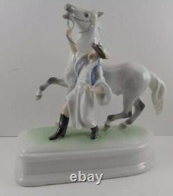 Herend Hungarian Porcelain Dappled Grey Horse Figurine Horseherd W Trainer
