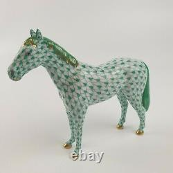 Herend Hungary Porcelain Figure Of A Horse 15238 Green Fishnet 5 Long