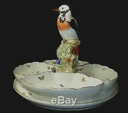 Herend Porcelain 5 Piece Hors d'Oeuvres Dish Woodpecker Figurine Gold Pheasants