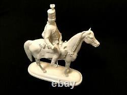 Herend Porcelain White Hadik Hussar On Horse Figurine Artist Signed 5475