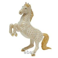 Herend, Prancing Horse 7.25 Porcelain Figurine, Butterscotch, Flawless, $1425