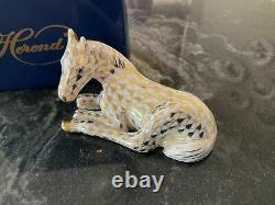 Herend Small Lyimg Foal With Gold Net Day One Charter Member With Box 1998