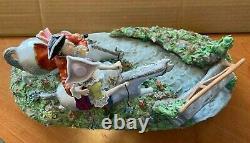 Huge Sitzendorf German Porcelain Couple Riding Horses Figurine Centerpiece