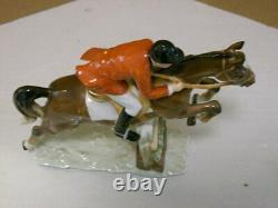 Hutschenreuther Porcelain Equestrian Horse Rider Jumping Fence Figurine Exc Cond