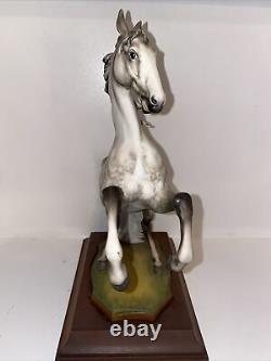 Kaiser Porcelain Maestoso Bisque Rearing Stallion Horse Figurine On Wooden Base